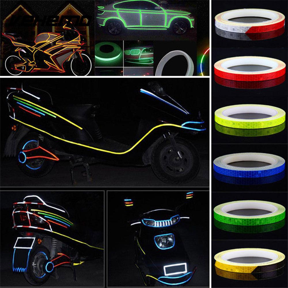 US $1 85 10% OFF|8m Wireless Funny Rim Luminous Reflection Stripe Auto  Decoration Bike Reflective Tape Motorcycle Car Styling-in Reflective Strips