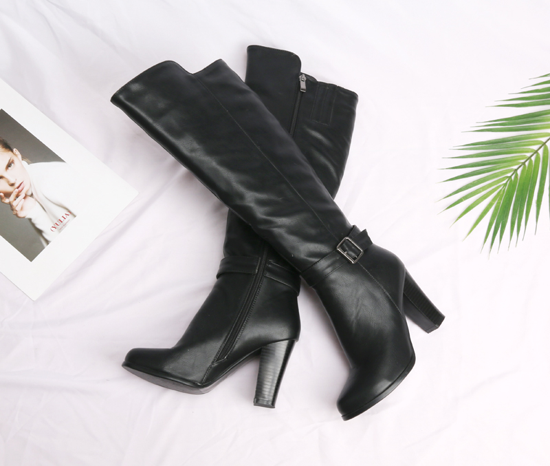 f0b991ecef1 Meotina Winter Thick High Women Heel Knee High Boots Shoes Riding Boots  Buckle Long Boots Zipper Ladies Footwear Brown Gray 45