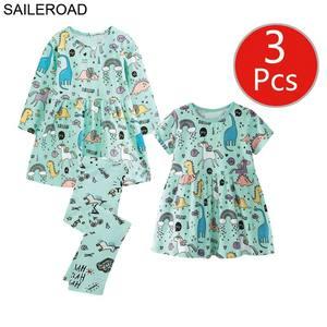 Image 3 - SAILEROAD 3pcs Girls Dress Leggings Sets for Toddler Girls Summer Autumn Clothing Unicorn Children Dresses Clothes for Girls