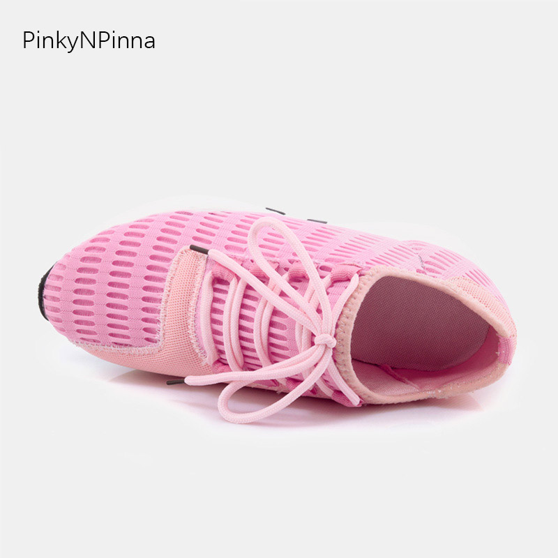 women trainers super soft breathable light stretch comfortable lace up heightening sneakers shoes workout outdoor large size 45 in Women 39 s Vulcanize Shoes from Shoes