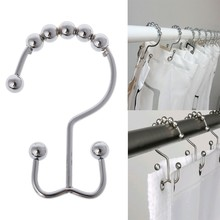 12pcs Stainless Steel Double Hook Polished Nickel Gliding Shower Curtain Rings S11 Dropship