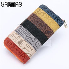 Genuine leather women wallet luxury stylish colorful striped patchwork ancient hieroglyphic embossing