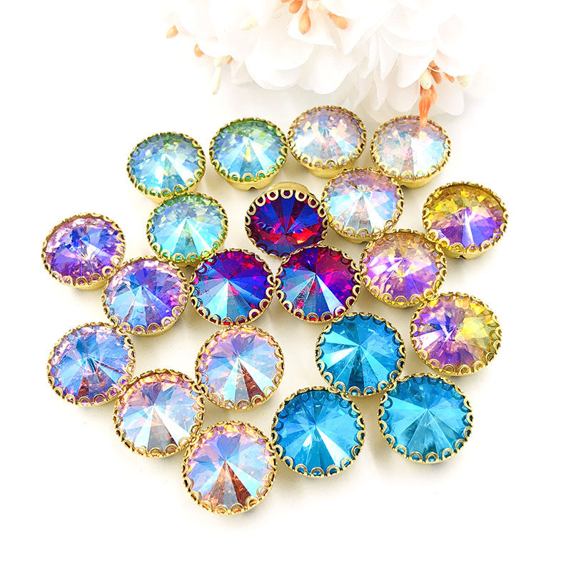 New Arrival Round Shape Strass Sew On Rhinestones Gold Base Lacy Claw Glass Crystal Rhinestone Diy Clothing Accessories 20pcs