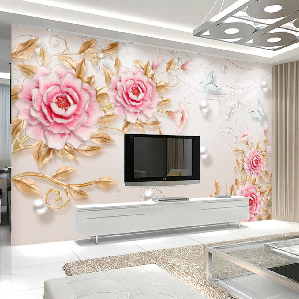Custom 3d Photo Wallpaper 3d Stereoscopic Embossed Flower Wall Painting Modern Simple Living Room Tv Background Wall Decor Mural Tv Background Photo Wallpaper 3d3d Photo Aliexpress