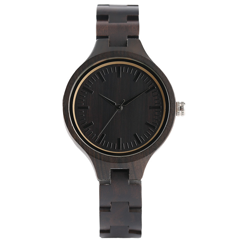 Modern Fashion Ladies Quartz Hand-made Ebony Wooden Watch Small Size Wood Watchband Bracelet Clasp Simple Watches Gift for Women fashion cool punk rock design men quartz wooden watch modern black genuine leather watchband unique wood watches gift for male