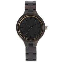 Modern Fashion Ladies Quartz Hand Made Ebony Wooden Watch Small Size Wood Watchband Bracelet Clasp Simple