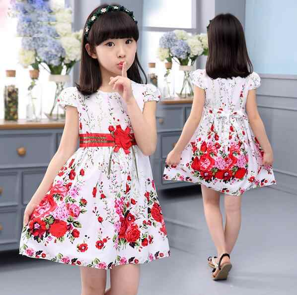 b9ee52109d Princess Party Dresses For Girls Wedding Dresses Floral Print Kids Prom  Dresses Summer Children Sundress 2 3 4 6 8 9 10 12 Years
