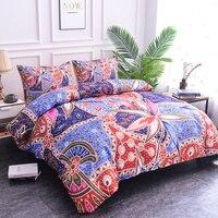 ZEIMON 3pcs Bedding Set Bohemia Styles Flower Geometric Print Duvet Cover Polyester Bedclothes Pillowcase Bed Set Home Textiles