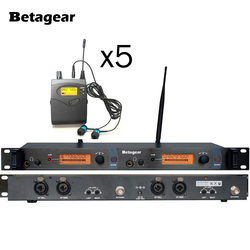 Betagear UHF In-Ear Wireless Stage Monitor System With Ear Buds 5 Bodypack Receivers Musical Instruments Studio Sound System