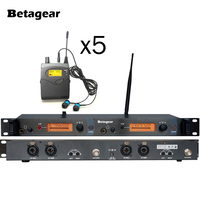 Betagear UHF In Ear Wireless Stage Monitor System With Ear Buds 5receivers musical instruments Studio Sound System Free shipping