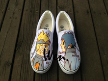Wen Anime Hand Painted Shoes Design Custom Naruto Unisex White Slip On Canvas Shoes Christmas Birthday Gifts