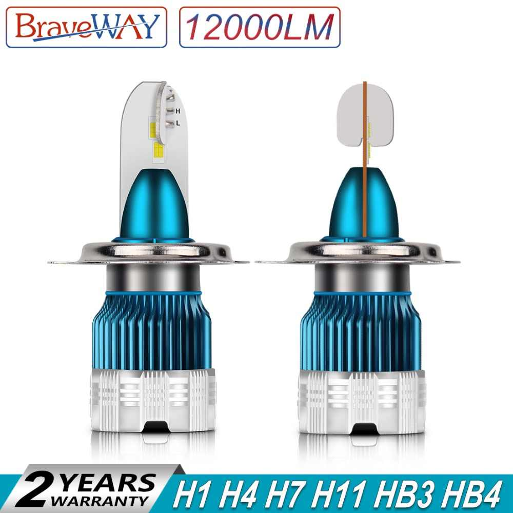 BraveWay Motorcycle LED H4 Headlight H7 H8 H9 H11 HB3 HB4 Auto Lamp 2019 New Items Mini Size H1 LED Bulbs 100W 12000LM 12V 6500K
