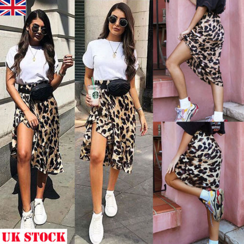 2018 New High Waisted Asymmetric Stretch Leopard Skirt For Women Girl Party Mid-Calf Bodycon Skirt