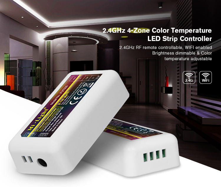 Mi Light 2.4G RF wifi Wireless 4Zone Color Temperature Adjustable CCT Dimmable Controller Dimmer for Dual White LED Strip Light