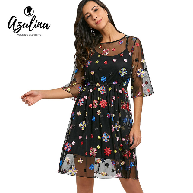 AZULINA Lolita Style Embroidery Floral Sheer Cami Dress Women Summer Dresses  Vestidos 2018 New 3 4 Sleeves Girls Dress Robes 23fc6660e87e