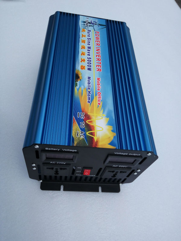 цена на 10000W peak Free Shipping 5000W Power Inverter Pure Sine Wave DC 24V to AC 220V Solar/Wind/Car/Gas Power Generation Converter