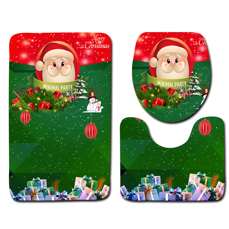 Honlaker Christmas 3 piece Bathroom Mats and Rugs Washable Non Fading Bath Mat Toilet Rug Set Bathroom Non-slip Doormat