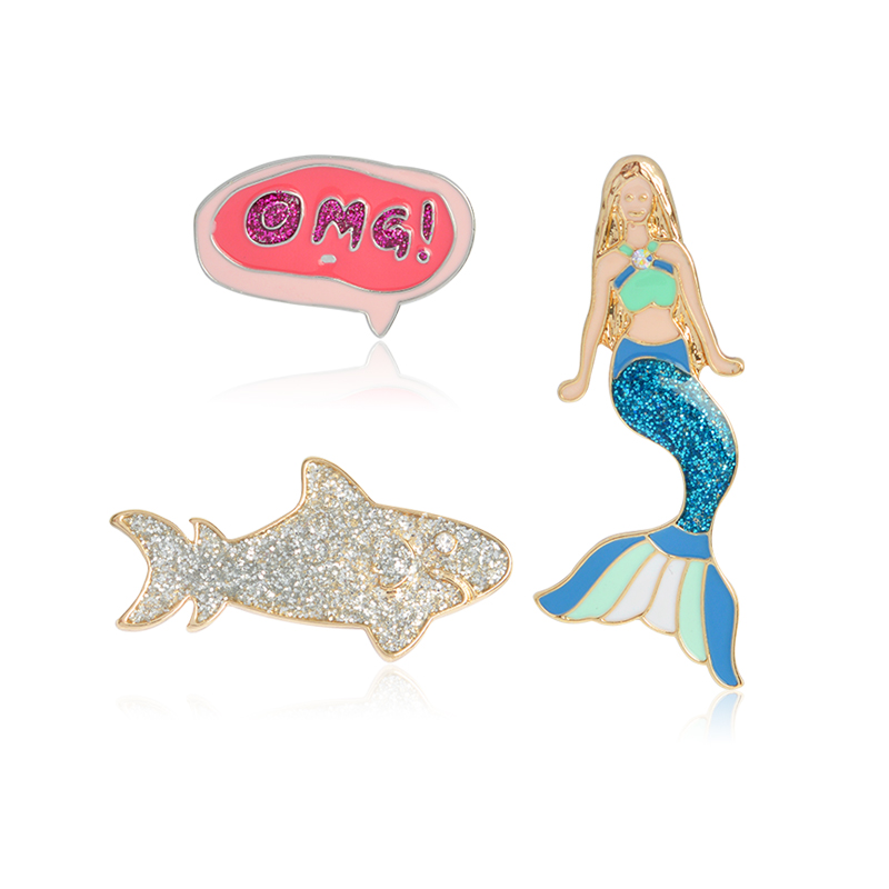 Shiny Mermaid Silver Shark OMG Icon Brooch Delicate Beauty Princess Fairy Animal Lapel P ...