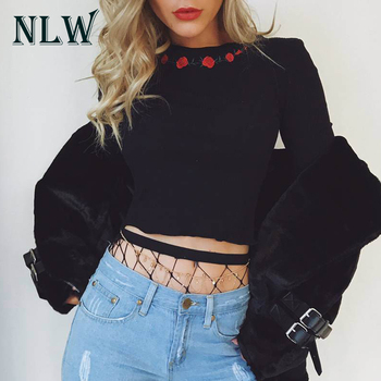 NLW Sexy Floral Embroidery Knitted Sweater White Crop Tops Long Sleeve Jumper Autumn Winter 2019 Womens Vintage Black Pullovers