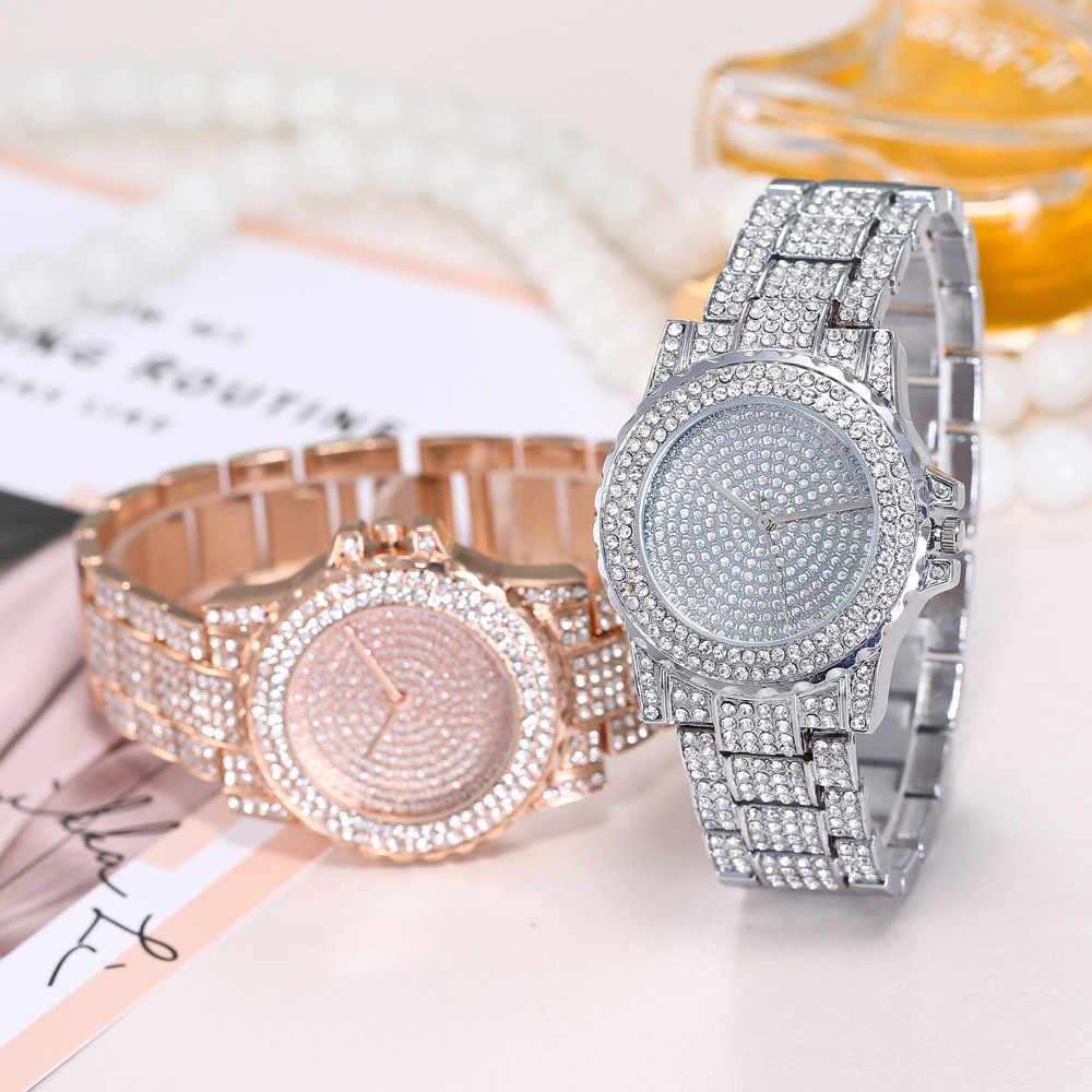 Fashion Wanita Jam Tangan Pria Mewah Pria Menonton Pria Menonton Jam Penuh Diamond Hublo Unisex Kuarsa Watch Relojes Mujer Gadis Hadiah Gelang 2019