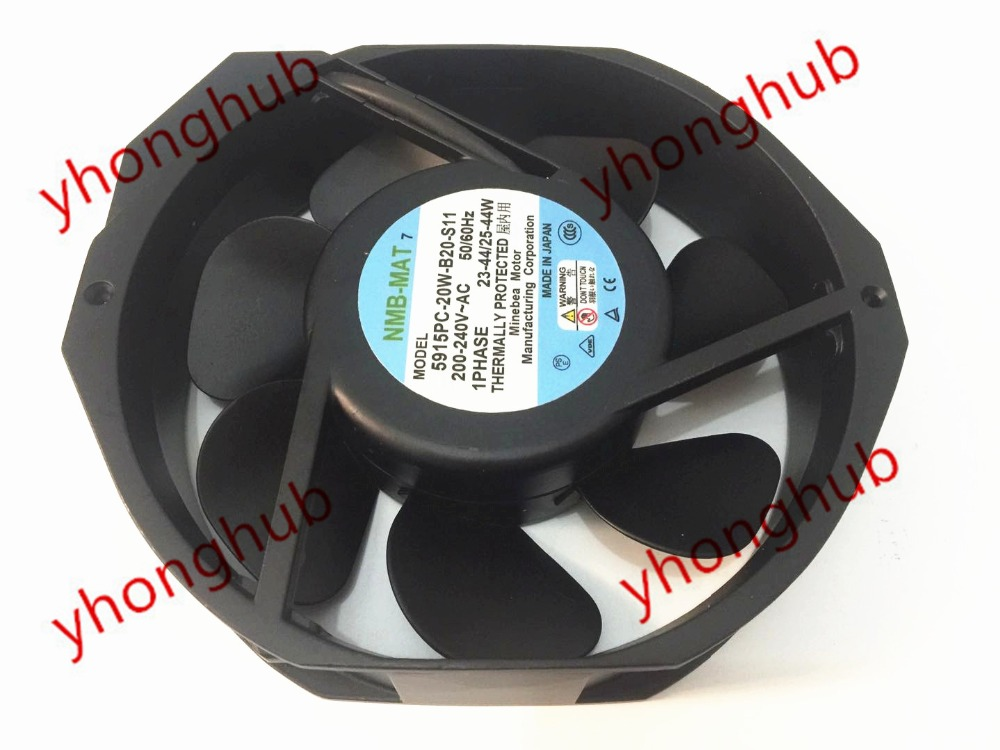 NMB-MAT 5915PC-20W-B20 S11 AC 200-240V 50/60Hz 23-44/25-44W 150x172x38mm Server Round Fan high temperature resistance 200v nmb 5915pc 20w b20 metal frame cooling fan