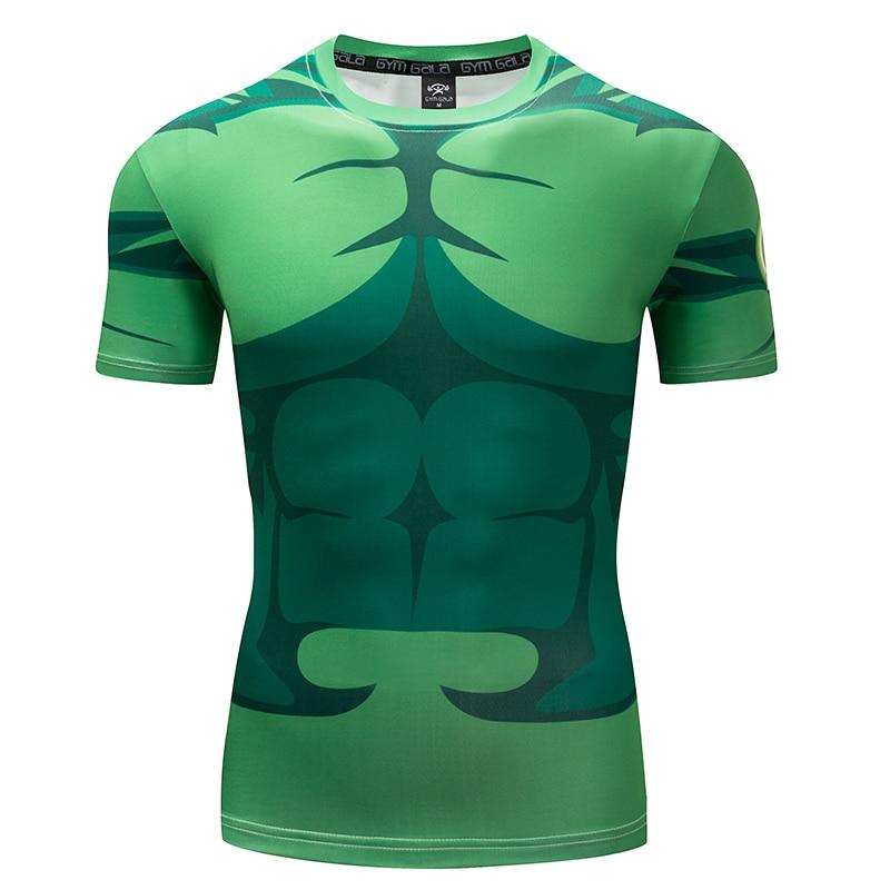 GYMGALA Summer fast dry Mens Fitness T-shirt Superhero Warrior Raglan Short Sleeve Tops 2018 Fashion Bodybuilding Slim T-Shirt