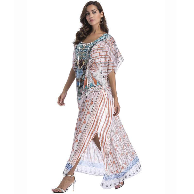 929cefe6a ... Plus size Chiffon summer sundress boho beach women clothing 2018  Diamonds print sexy split loose long ...