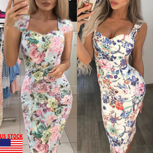 Fashion Womens Bandage Bodycon Floral Sling Summer Dress Party Cocktail Dressess