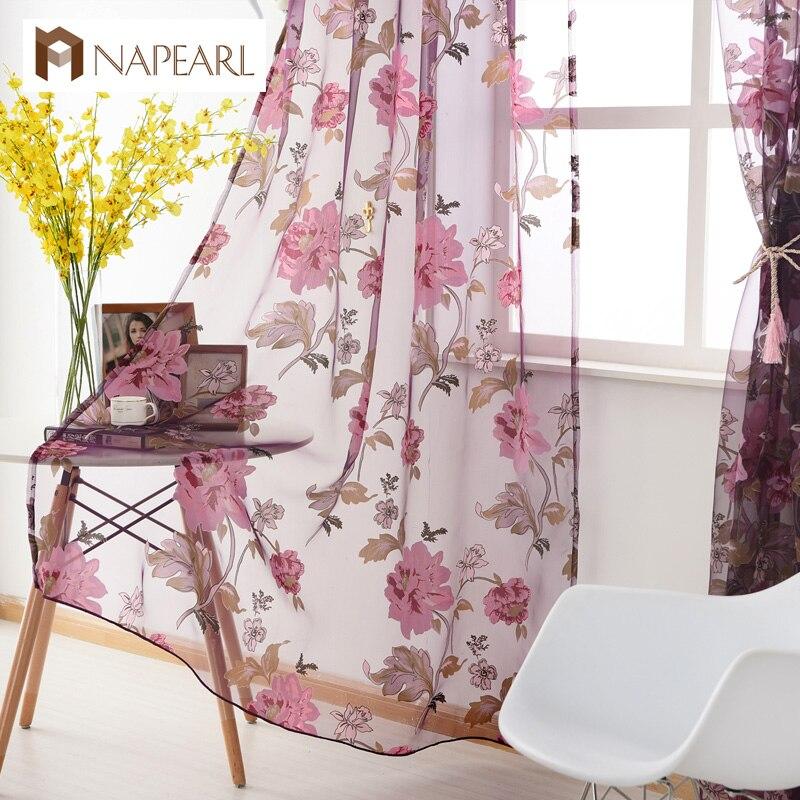US $4.98 52% di SCONTO|Floreale tende di tulle di disegno moderno tessuti  trasparenti viola burnout porta della cucina rustica tende balcone breve ...