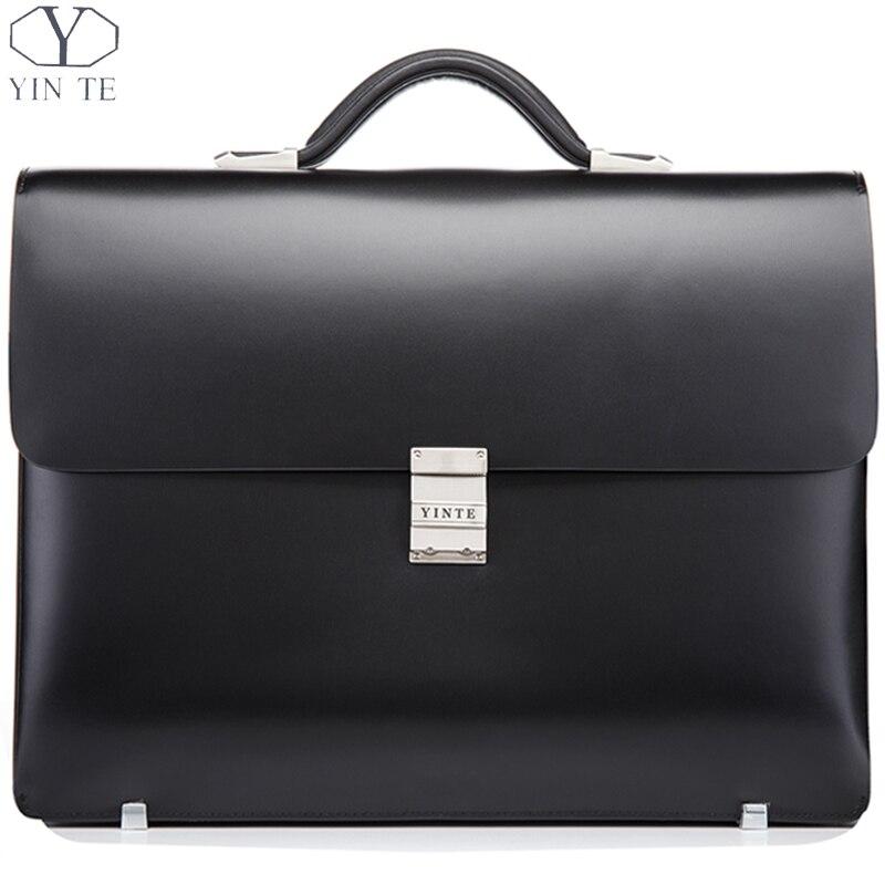 YINTE Leather Black Briefcase Leather Men's Business Handbag High Quality Lawyer Bag 14 Laptop Document Case Portfolio T8553-5 цена и фото
