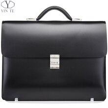 YINTE Leather Black Briefcase Leather Men's Business Handbag High Quality Lawyer Bag 14 Laptop Document Case Portfolio T8553-5