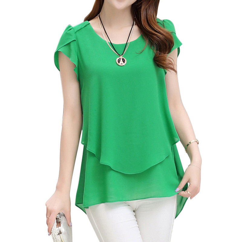 2017 Womens Short Sleeve Chiffon Blouse Peplum Summer Tops Ladies Long Office Shirts Plus Size Ruffle Blouse Femme 4XL 5XL