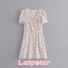 цены на Summer boho polka dot print chiffon dress Sexy v neck short sleeve beach dress 2018 korean fashion ruffles party dresses vestido  в интернет-магазинах