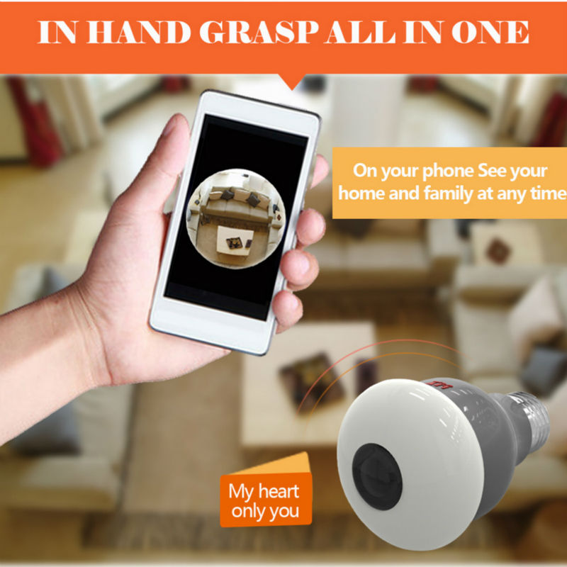 New HD 3MP WiFi IP Camera Panoramic View 360 degree Light Bulb Camera 1080P Smart Home VR 360 Cameras Wireless Built in Micro SD - 5