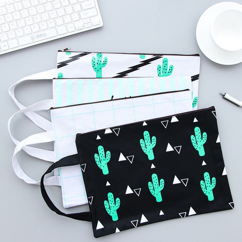 Coloffice 1PC Creative Cactus Mesh File Pouch Canvas A4 File Bag Documents Filing Products With Zipper Stationery Office Student