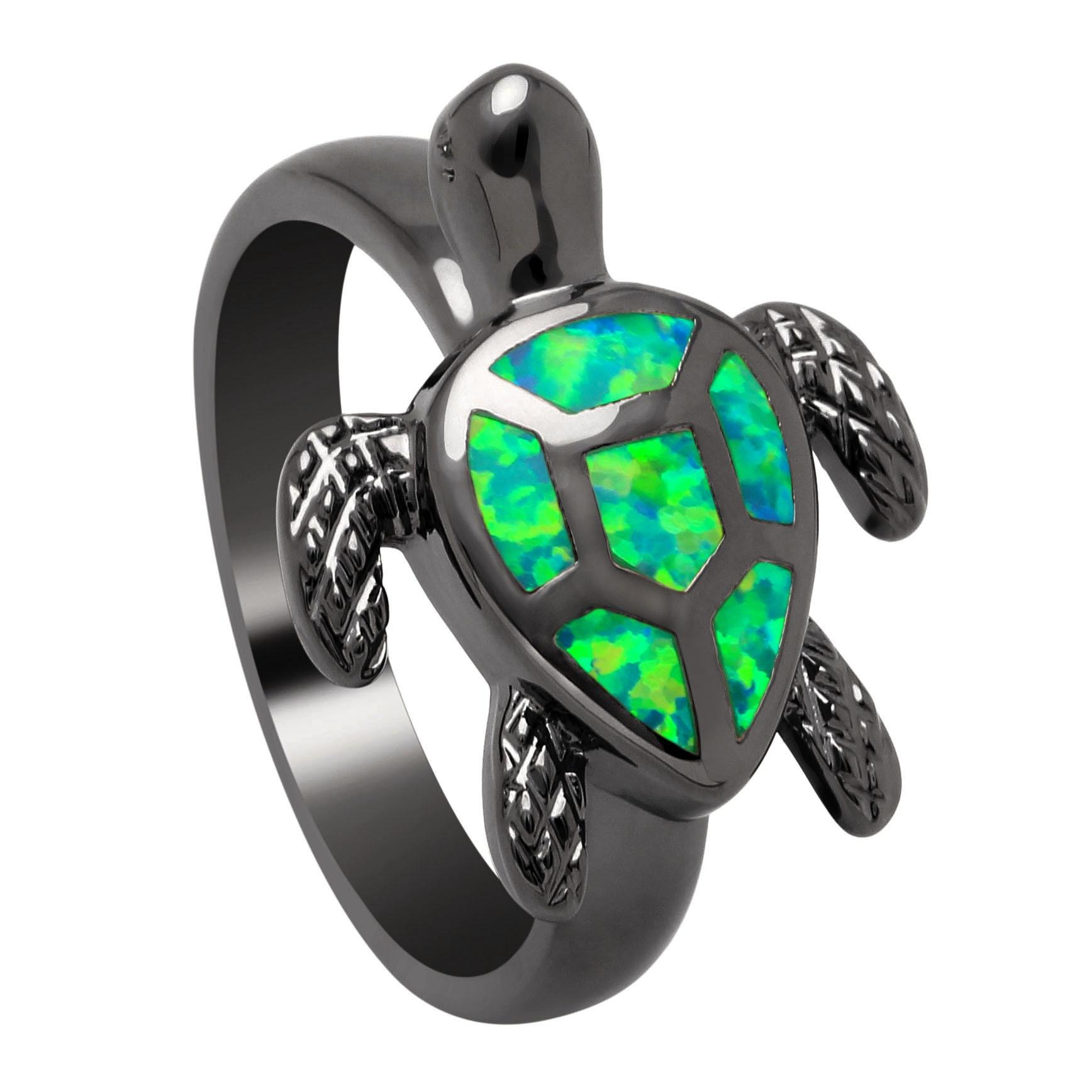 Vnfuru Green Tortoise Rings For Women Gift Black Fire Opal Ring Jewelry Finger Natural Stone Red Sea Turtle