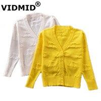 VIDMID Bé gái dễ thương màu trắng Cardigan Áo Len Áo Len Cotton Polyester Mỏng Dài Tay Trẻ Em Gái Cardigan Knitting Pattern 1054
