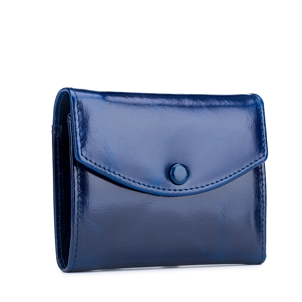 High Quality Women Leather Three-Fold Wallets Brand Design Coin Purse Genuine Oil Wax Ladies Zipper Cartera Mujer