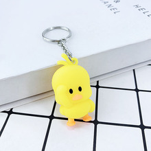 New creative PVC soft glue little yellow duck duckling key buckle pendant girl bag car toy small Gift