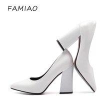 Famiao супер обувь на высоком каблуке Черный и белый цвета женские туфли-лодочки пикантные с острым носком без шнуровки красные свадебные туфли на толстом каблуке вечерние лаконичные туфли-лодочки