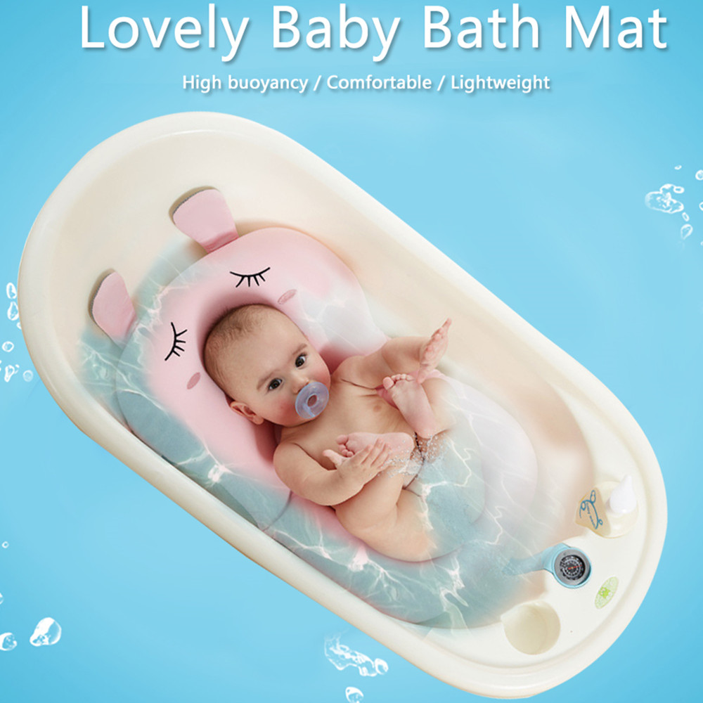 Anti Skid Baby Bath Mat Foldable Shower Seat Infant Bathtub Lounger ...