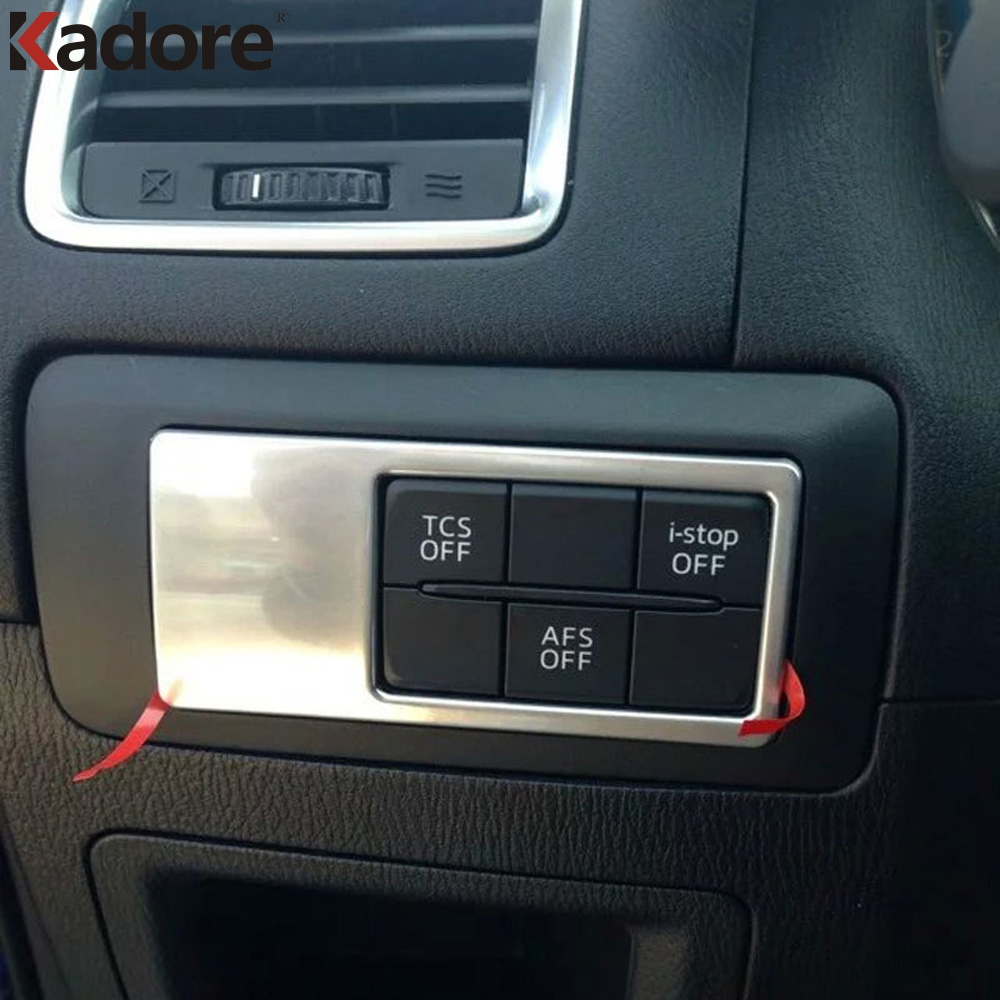 For <font><b>Mazda</b></font> CX-5 <font><b>CX5</b></font> 2012 -2017 Matte Front Fog Light Lamp Switch Button Cover Trim Inner Car Foglight Control Frame <font><b>Accessories</b></font> image