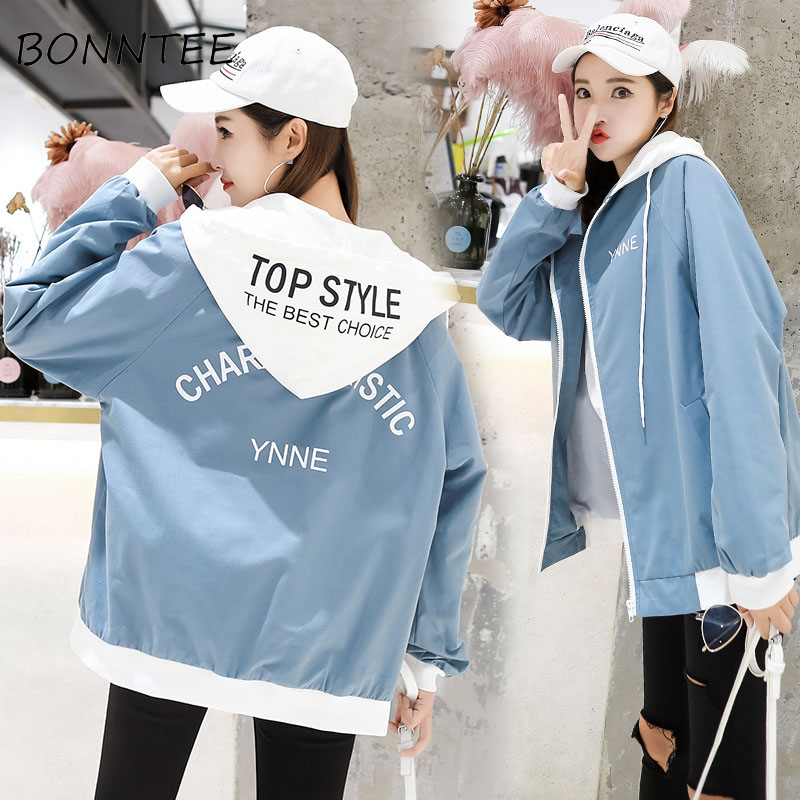Women   Jackets   Loose Letter Printed Patchwork Long Sleeve   Basic     Jackets   Womens Chic Fashion All-match Korean Style Casual Daily