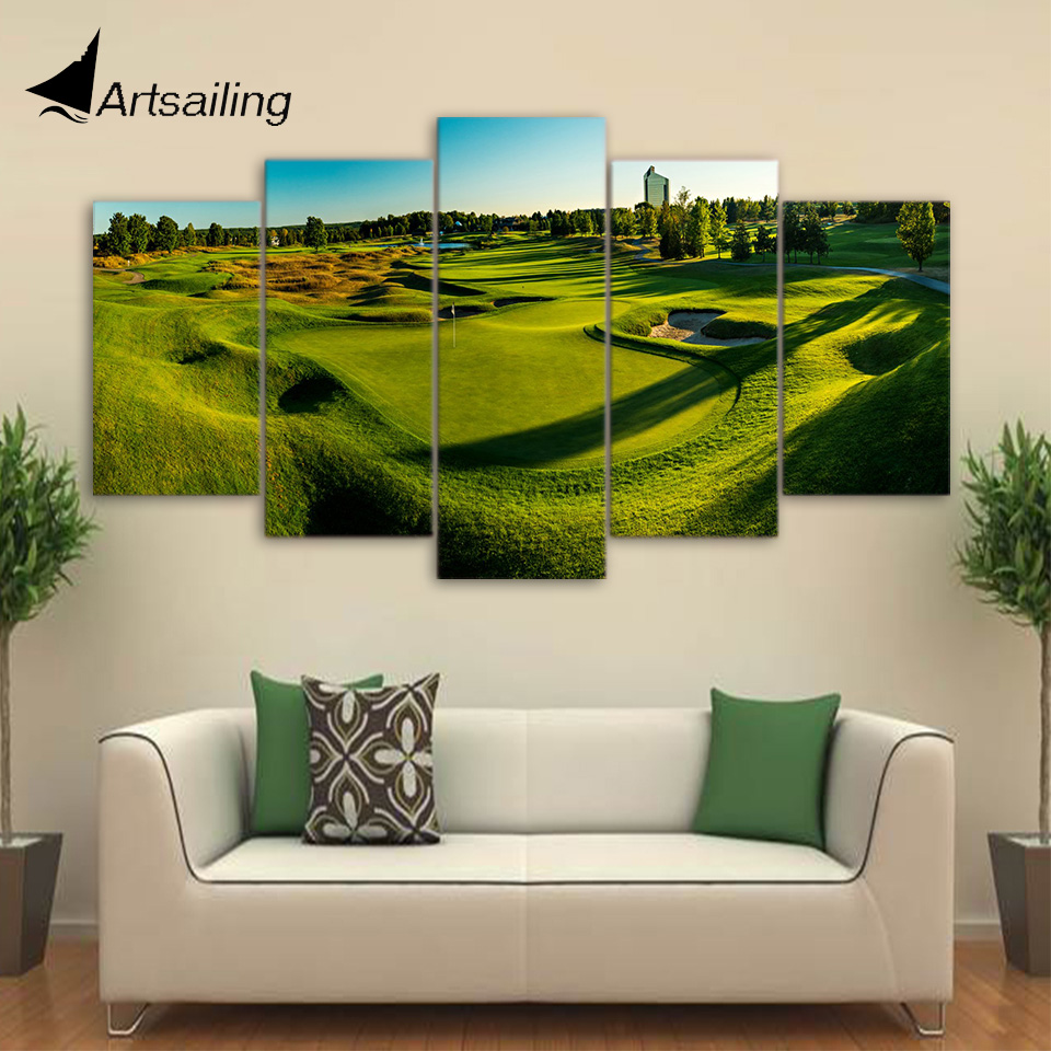 HD Printed 5 Piece Canvas Art Golf Course Painting Green Hill Poster Wall  Pictures for Living Room Decor Free Shipping CU 1687AGolf Pictures Promotion Shop for Promotional Golf Pictures on  . Golf Decorated Rooms. Home Design Ideas