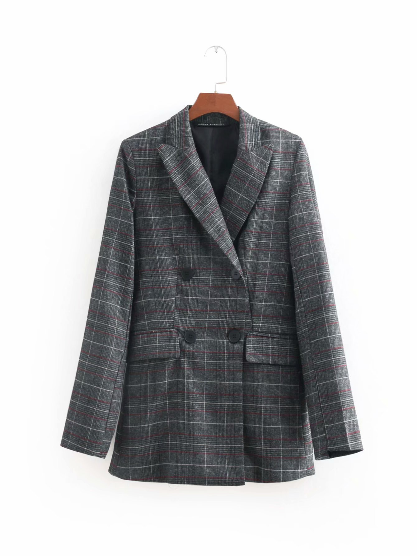 womens blazer casual 2019 girls korean women blazers harajuku woman clothes plaid double breasted harajuku gothic jacket
