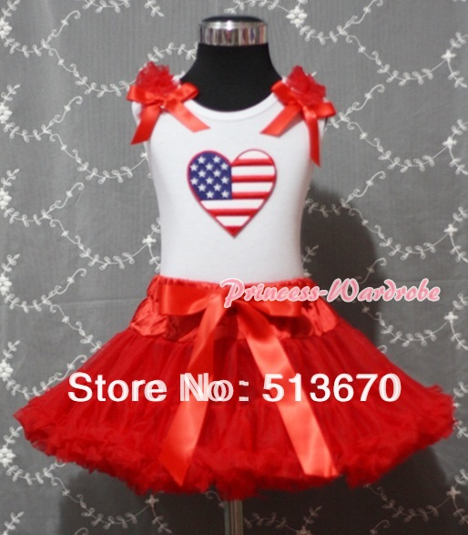 Red Pettiskirt with Patriotic America Heart Red Ruffles & Bow White Tank Top MAMM159 4th july america flag style stripe pettiskirt white ruffle tank top 2pc set 1 8year mamg1143