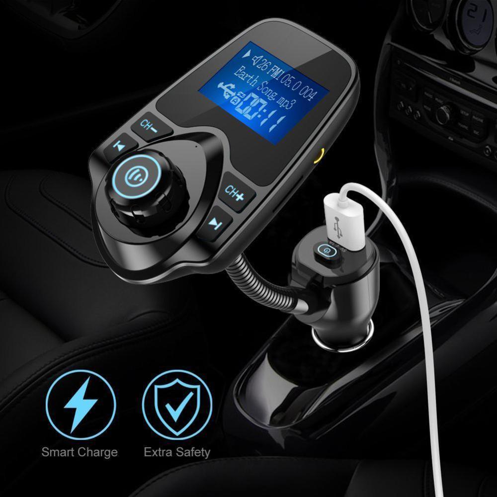 2019 Multifunction KM18 PLUS  Car Kit Wireless Bluetooth FM Transmitter MP3 Player Charger Radio Adapter Car Auto Vintage Radio