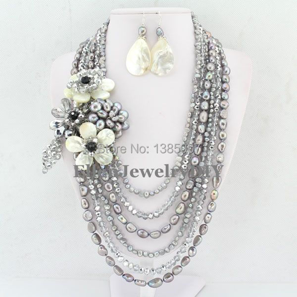 Excellent Design 6 Rows Flower Freshwater Pearl Necklace,Pearl Jewelry Set White Shell Necklace Crystal Necklace Christmas Gifts excellent design 6 rows flower freshwater pearl necklace pearl jewelry set white shell necklace crystal necklace christmas gifts