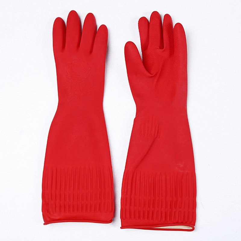 HOME Kitchen Washing Gloves Long Waterproof Glove Rubber Latex Dish Cleaning M L