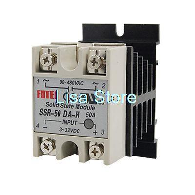 SSR-50DA-H 50A AC 90-480V Single Phase Heat Sink Solid State Relay + Heat Sink wsfs hot sale dc to ac single phase solid state relay ssr 40da 40a 90 480v ac heat sink